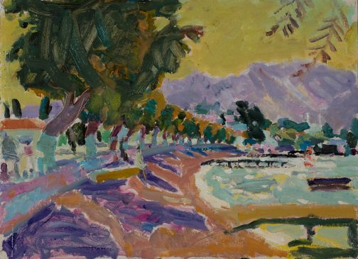 A Seaside Town on the Aegean: Autumn Morning (HG1094) Oil on Board 16