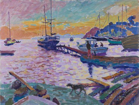 Departure at Dusk (HG1113) Oil on Canvas 32