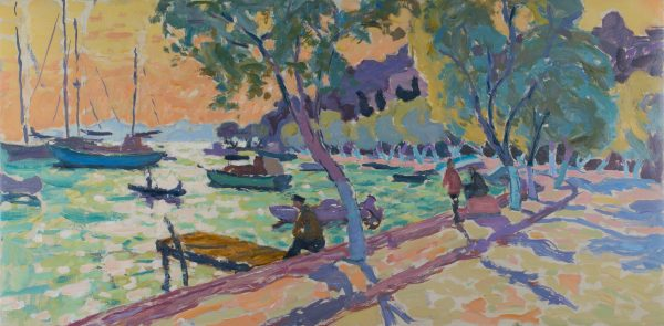 Watching the Boats - Approaching Dusk (HG1116) Oil on Canvas 24