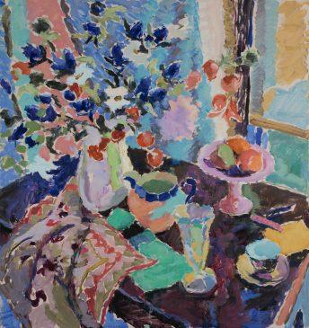 Still Life in Blue (HG1133) Oil on Canvas 36