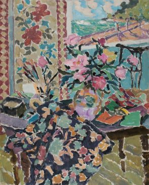 Still Life with Peonies and Screen (HG1140) Oil on Canvas 42