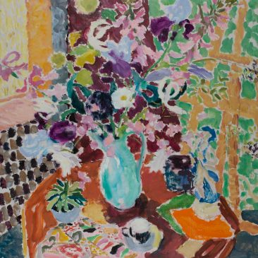 Irises, Blue Jug and Colour Cards (HG1149) Oil on Canvas 42