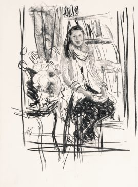 Compositional Study: Girl Seated on a Chair (HG1035) Charcoal on Paper 22