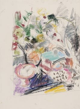 Study for Still Life with Flowers, Feathers and Tea Cosy (HG1043) Chalk and Charcoal on Paper 26