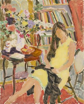 Autumn Afternoon, Figure Sewing (HG1051) Oil on Canvas 30