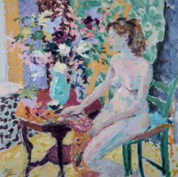 oil painting of nude sitting on a chair looking at flowers