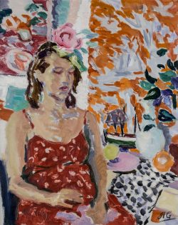 oil painting of woman in red dress sewing