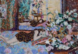colourful painting of reclining figure surrounded by flowers and textiles