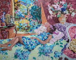 figure painting of reclining woman in floral dress looking at a garden scene