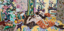oil painting of reclining woman textiles colour reflection