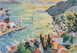 plein air painting symi harbour dawn sea light
