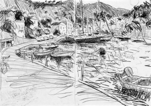 Study for Symi Harbour, Evening (HG1208) Charcoal on Paper 16.5