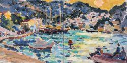plein air painting symi harbour greece