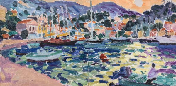 Symi Harbour, Evening I (HG1210) Oil on Board 15