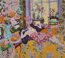 Large colourful oil painting of an interior and reclining figure