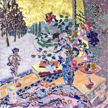 A Winter Garden (HG1232) Oil and Gold Leaf on Canvas 42