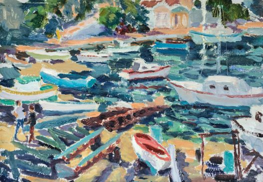 A Symi Boatyard (HG1244) Oil on Board 15