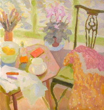 Still Life with Cyclamen, Chair and Table II (HG702) Oil on Canvas 30