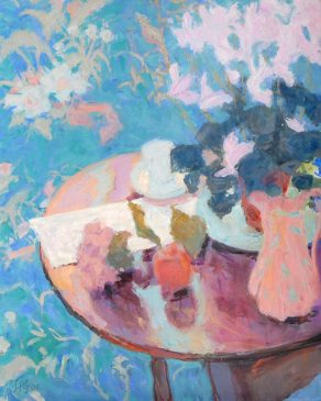 Still Life with Cyclamen & Blue Background (HG705) Oil on Canvas 30