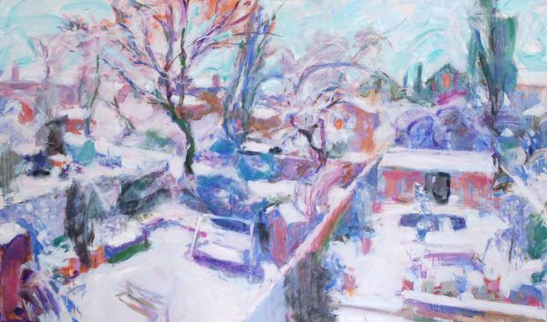 London Gardens after Snow (HG728) Oil on Canvas 38