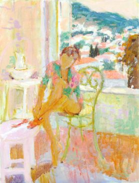 Getting Dressed, Evening Light (HG741) Oil on Canvas 26