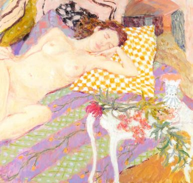 Still Life with Sleeping Nude and Chequered Pillow (HG747) Oil on Canvas 38