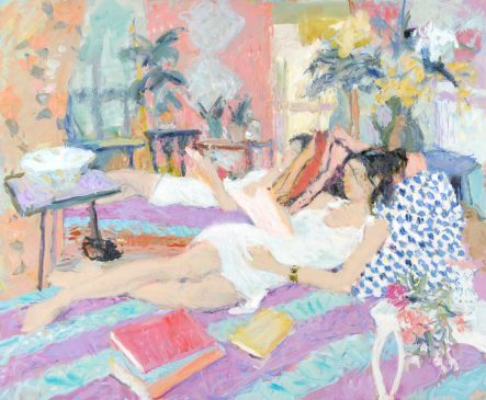 Interior with Reclining Figure II (HG752) Oil on Canvas 36