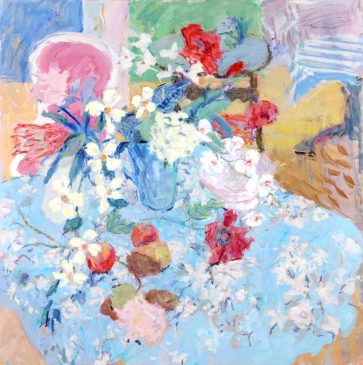 Still Life with Flowers and Blue Chintz (HG754) Oil on Canvas 42