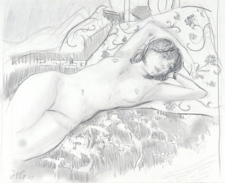 Reclining Nude III (HG759) Charcoal and Chalk on Paper 19