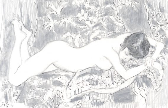 The Sleeping Nude (HG762) Charcoal and Chalk on Paper 18