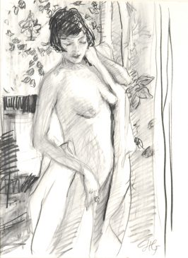 Study for After the Bath (HG763) Charcoal and Chalk on Paper 28