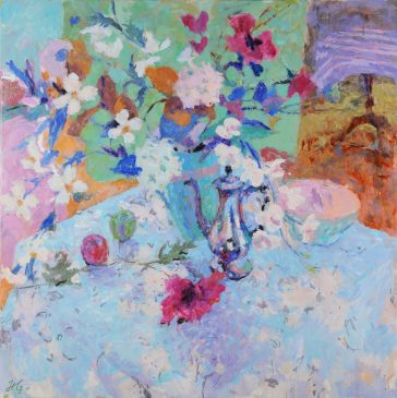 Still Life with Flowers and Coffee Pot (HG790) Oil on Canvas 42