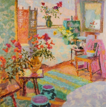 The Jug of Poppies, Studio Interior, Late Afternoon (HG792) Oil on Canvas 42