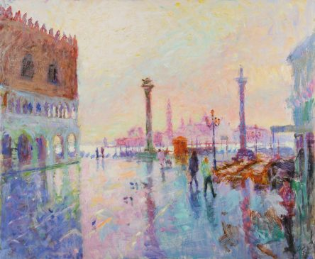 St Mark's Square, Late Winter Morning (HG793) Oil on Canvas 38