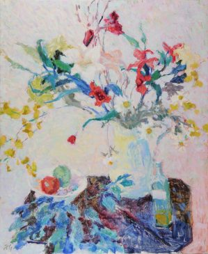 Red, White and Blue: Still Life with Flowers (HG794) Oil on Canvas 46