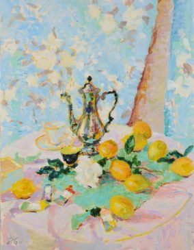 Still Life with Lemons and Coffee Pot (HG798) Oil on Canvas 36