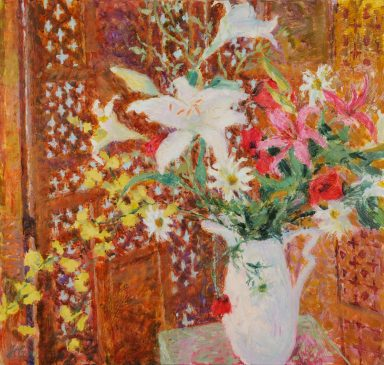 Lillies, Poppies and the Provencal Screen (HG800) Oil on Canvas 34