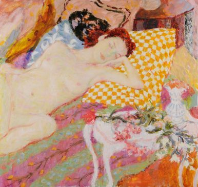 Still Life with Sleeping Nude and Chequered Pillow (HG802) Oil on Canvas 34