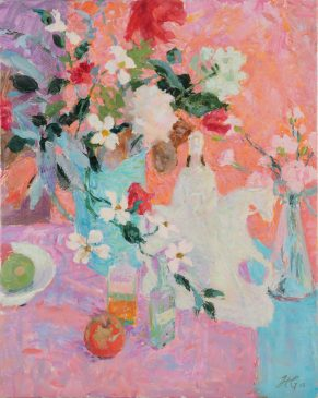 Blue, Violet and Pink: Still Life with Anenomes and Equestrian Figure (HG803) Oil on Canvas 30