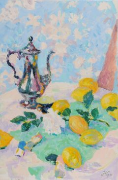Still Life with Lemons, Coffee Pot and White Rose (HG804) Oil on Canvas 30