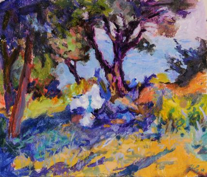 The Table Under the Tree, Limiona (HG806B) Oil on Gessoed Board 14.75