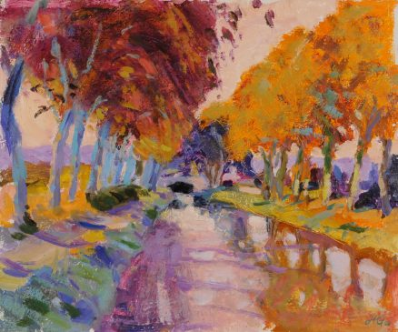 Evening Light, Canal du Midi (HG807) Oil on Gessoed Board 15
