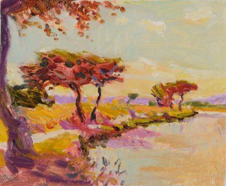 Umbrella Pines, Canal du Midi (HG808) Oil on Gessoed Board 14.25