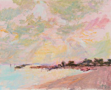 Sun and Rain, Climping Beach (HG809) Oil on Gessoed Board 14.25
