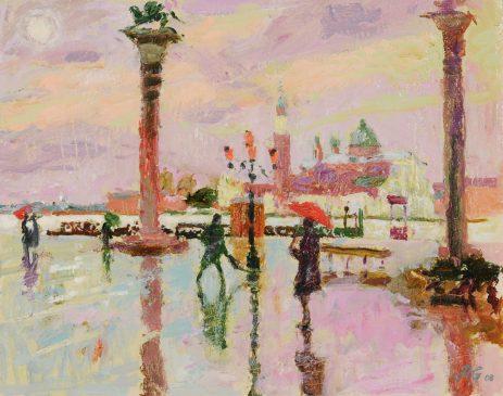 San Giorgio Maggiore, Venice, Rainy Morning (HG812) Oil on Gessoed Board 14