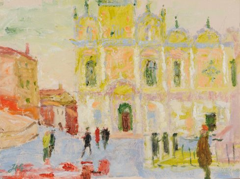 The Ospedale Civile, Venice, Winter Morning (HG816) Oil on Gessoed Board 11