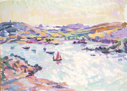 Looking Towards Bryher from Tresco (HG872) Oil on board 18.5