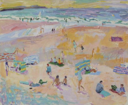 Bathers at White Sands Beach, Pembrokeshire (HG909) Oil on canvas 28