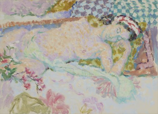 Reclining Nude in Green and Violet (HG912) Oil on canvas 26