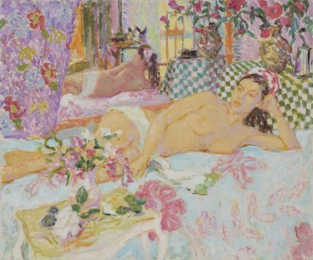Reclining Nude with Headscarf, Warm Afternoon Light (HG915) Oil on canvas 38